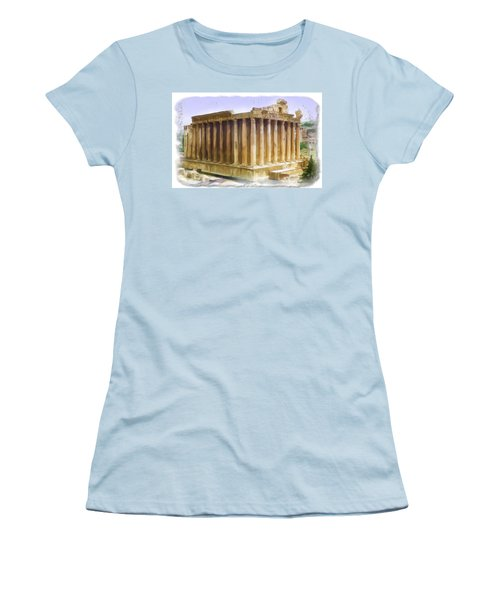 Do-00312 Temple Of Bacchus In Baalbeck Women's T-Shirt (Athletic Fit)