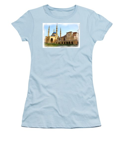 Women's T-Shirt (Junior Cut) featuring the photograph Do-00362al Amin Mosque And St George Maronite Cathedral by Digital Oil
