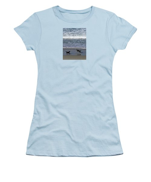 Women's T-Shirt (Athletic Fit) featuring the photograph Doggie Fun by Nareeta Martin