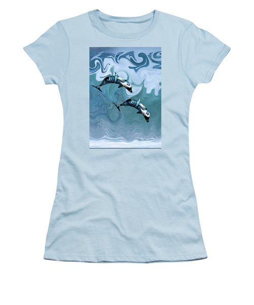 Dolphins Playing In The Waves Women's T-Shirt (Athletic Fit)