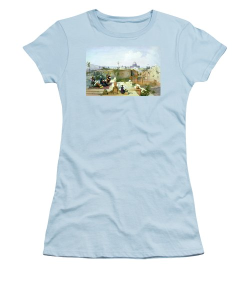 Dome Of The Rock In The Background Women's T-Shirt (Junior Cut) by Munir Alawi
