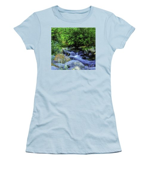 Women's T-Shirt (Junior Cut) featuring the photograph Down Stream by Nancy Marie Ricketts