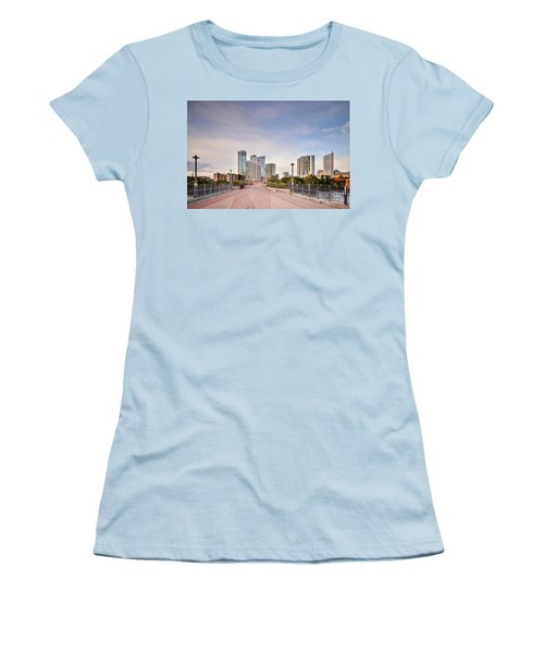 Downtown Austin Skyline From Lamar Street Pedestrian Bridge - Texas Hill Country Women's T-Shirt (Junior Cut) by Silvio Ligutti