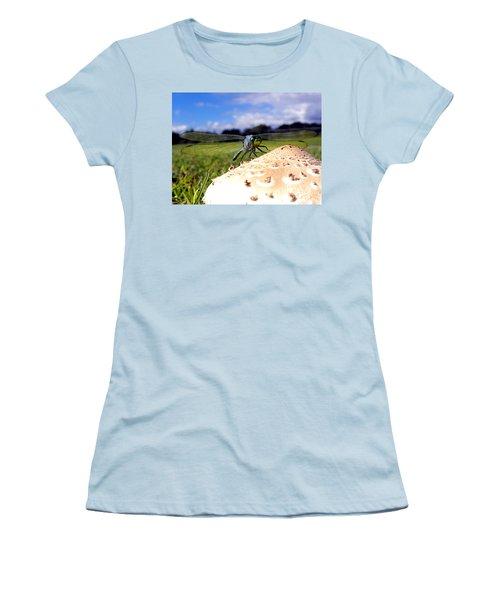 Dragonfly On A Mushroom Women's T-Shirt (Junior Cut) by Chris Mercer