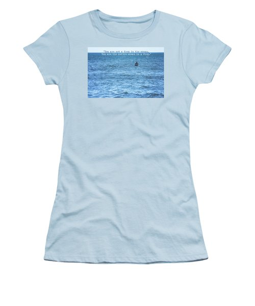 Drop In The Ocean Surfer  Women's T-Shirt (Junior Cut) by Terry DeLuco