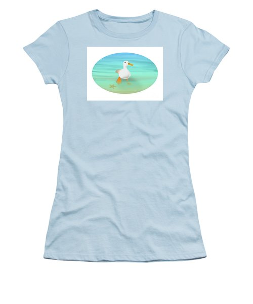 Duck Paddling At The Seaside Women's T-Shirt (Athletic Fit)
