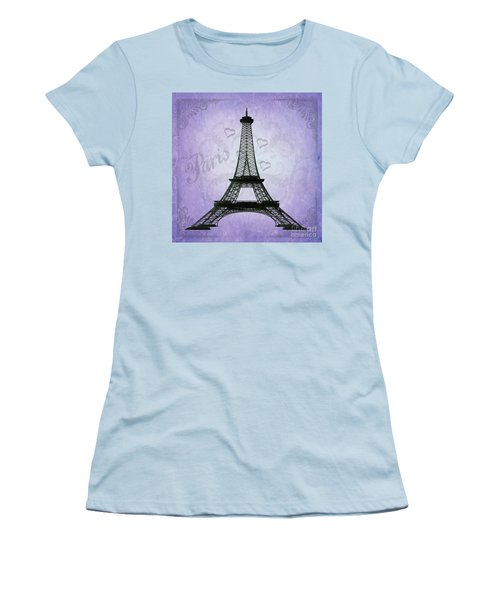 Eiffel Tower Collage Purple Women's T-Shirt (Athletic Fit)