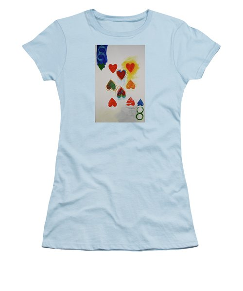 Women's T-Shirt (Junior Cut) featuring the painting Eight Of Hearts 9-52  2nd Series  by Cliff Spohn