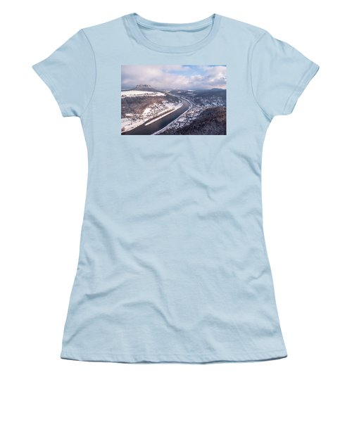 Women's T-Shirt (Junior Cut) featuring the photograph Elbe Valley With Mountain Pfaffenstein by Jenny Rainbow