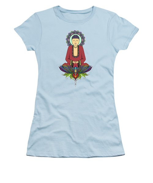 Women's T-Shirt (Junior Cut) featuring the drawing Electric Buddha by Tammy Wetzel