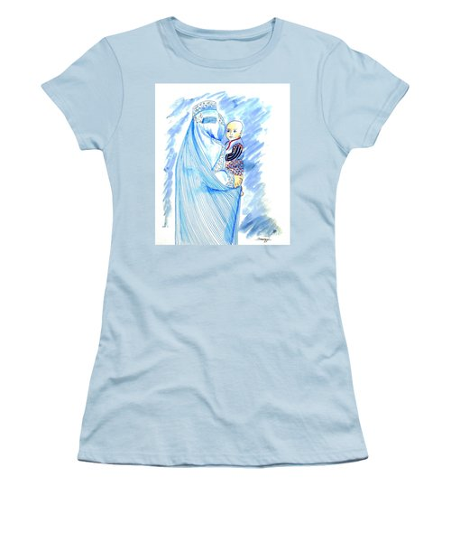 Embroidered Blue Lady-cage -- Woman In Burka Women's T-Shirt (Athletic Fit)