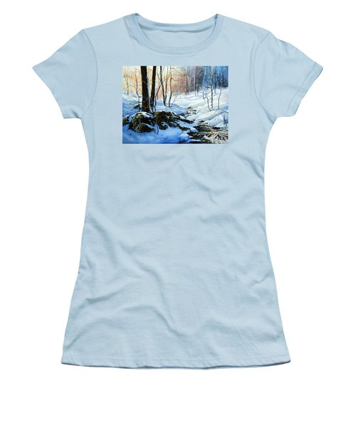 Women's T-Shirt (Athletic Fit) featuring the painting Evening Shadows by Hanne Lore Koehler