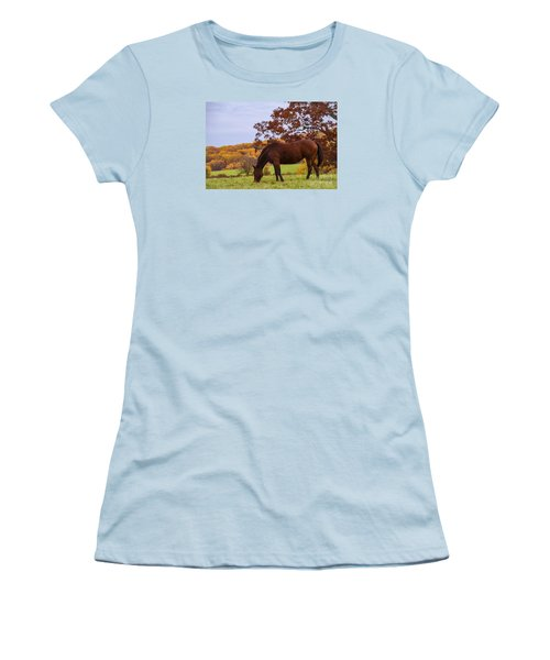 Fall And A Horse Women's T-Shirt (Junior Cut) by Rima Biswas