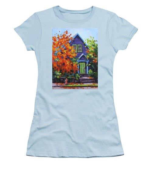 Fall In The Neighborhood Women's T-Shirt (Junior Cut) by Karen Ilari