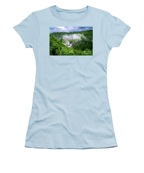 Falls Through The Fog - Plitvice Lakes National Park Croatia Women's T-Shirt (Athletic Fit)