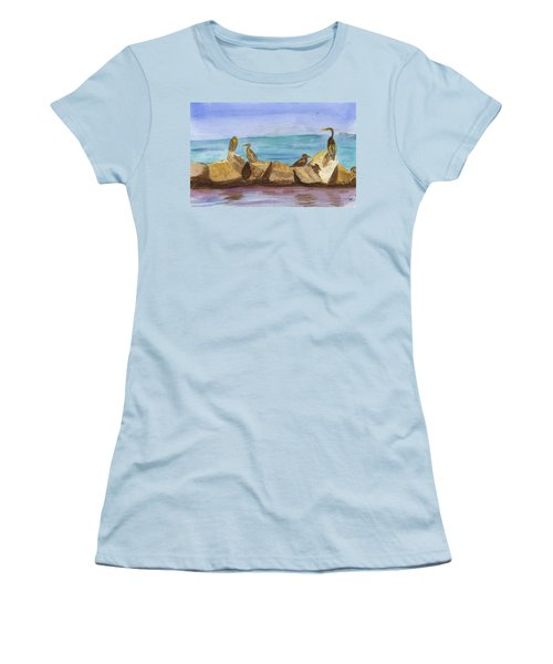 Women's T-Shirt (Junior Cut) featuring the painting Falmouth Mass by Donna Walsh