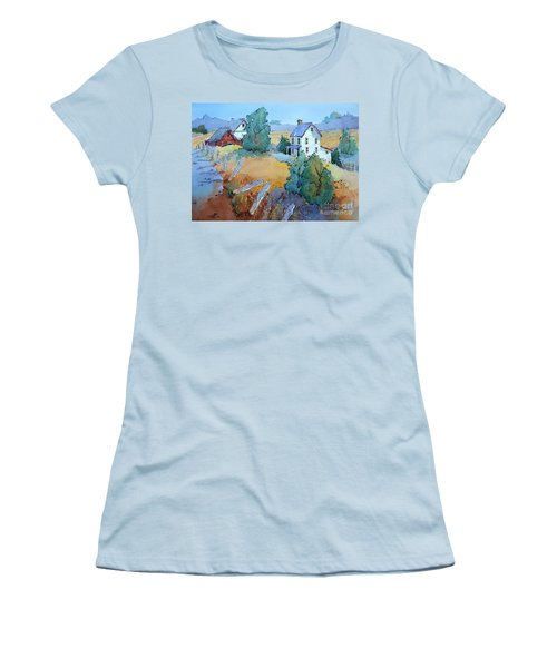Farm With Blue Roof Tops Women's T-Shirt (Athletic Fit)