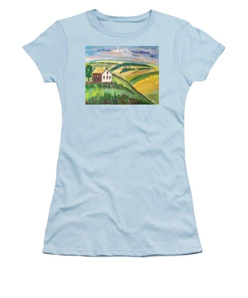 Farmhouse On A Hill Women's T-Shirt (Junior Cut) by Diane Pape