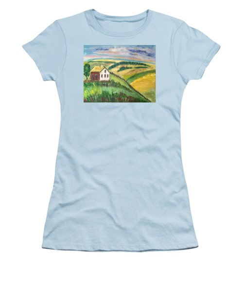 Farmhouse On A Hill Women's T-Shirt (Athletic Fit)