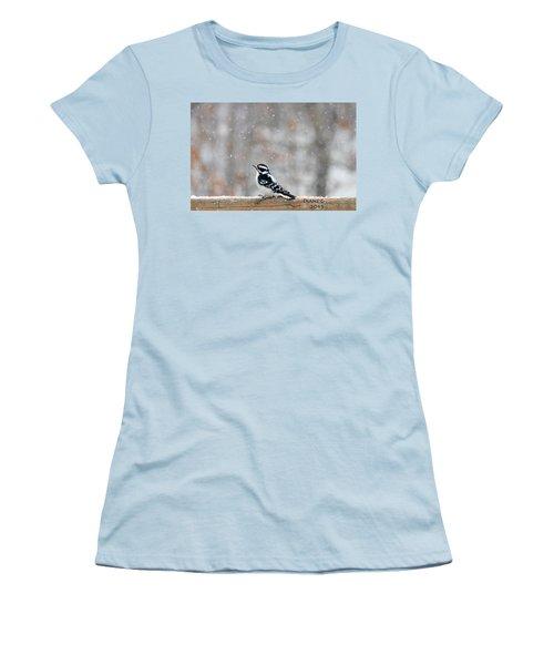 Female Downy Woodpecker Women's T-Shirt (Junior Cut) by Diane Giurco