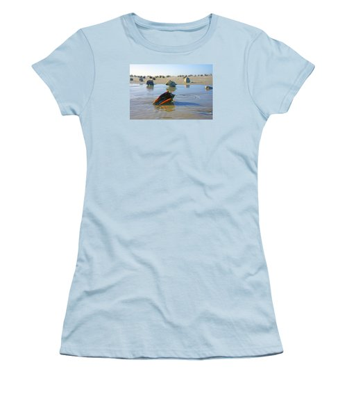 Women's T-Shirt (Junior Cut) featuring the photograph Fighting Conchs On The Sandbar by Robb Stan