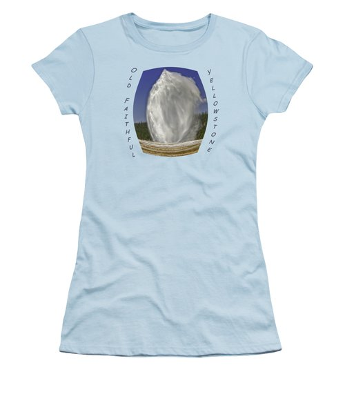 Fisheye Look At Old Faithful Women's T-Shirt (Junior Cut) by John M Bailey
