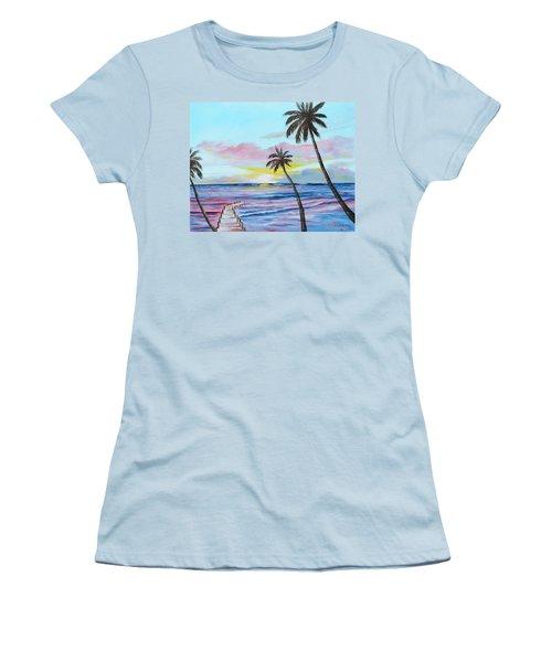 Fishing Pier Sunset Women's T-Shirt (Junior Cut) by Lloyd Dobson