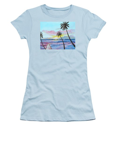 Fishing Pier Sunset Women's T-Shirt (Athletic Fit)