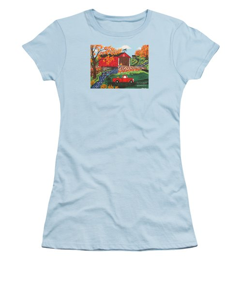 Women's T-Shirt (Junior Cut) featuring the painting Fishing Under The  Covered Bridge by Jeffrey Koss