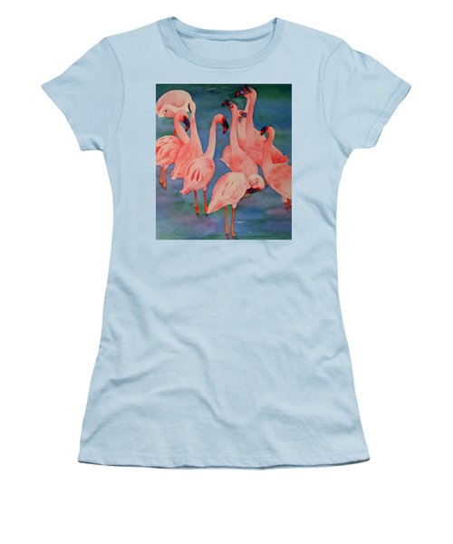 Women's T-Shirt (Junior Cut) featuring the painting Flamingo Convention In The Square by Judy Mercer