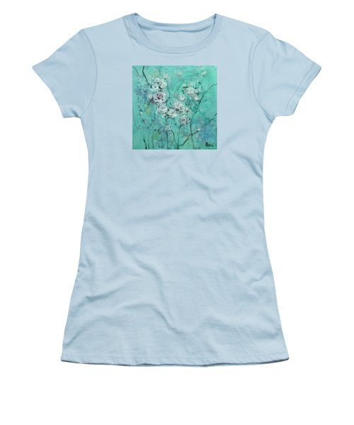 Floating Roses Painting Women's T-Shirt (Athletic Fit)