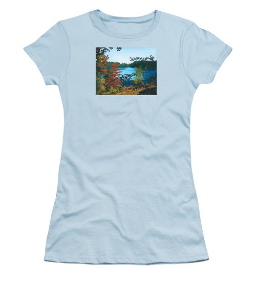 Women's T-Shirt (Athletic Fit) featuring the painting Floodwood by Lynne Reichhart
