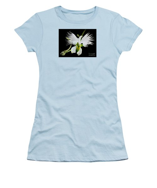 Flower Oddities - Flying White Bird Flower Women's T-Shirt (Junior Cut) by Merton Allen