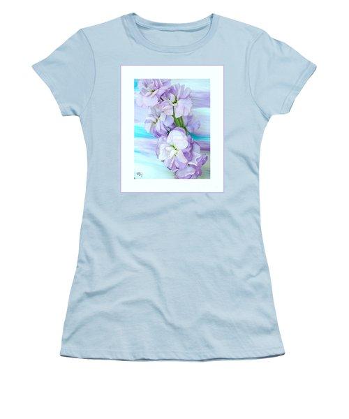 Women's T-Shirt (Junior Cut) featuring the mixed media Fluffy Flowers by Marsha Heiken