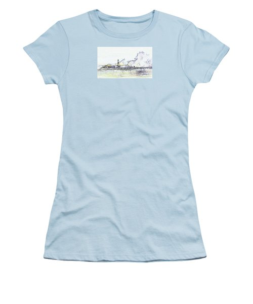 Women's T-Shirt (Athletic Fit) featuring the photograph Foamy Sea At The Breakwater by Nareeta Martin