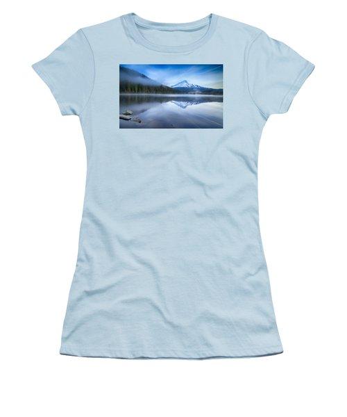Fog And The Lake Women's T-Shirt (Junior Cut) by Lynn Hopwood