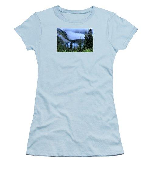 Fog Over Louise Lake Women's T-Shirt (Junior Cut) by Lynn Hopwood
