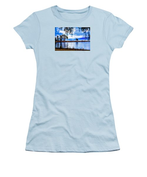 Women's T-Shirt (Junior Cut) featuring the photograph Foggy Hills And Lakes by Rick Bragan