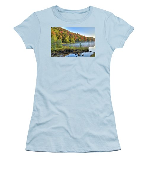 Women's T-Shirt (Athletic Fit) featuring the photograph Foggy Morning On The Pond by David Patterson