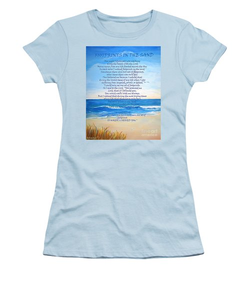 Footprints In The Sand Women's T-Shirt (Junior Cut) by Shelia Kempf