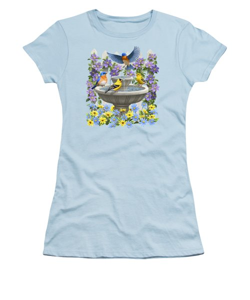 Fountain Festivities - Birds And Birdbath Painting Women's T-Shirt (Junior Cut) by Crista Forest