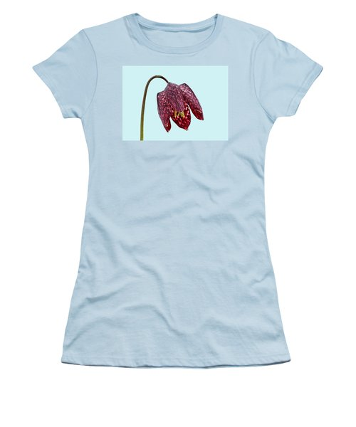 Fritillaria Meleagris Blue Background Women's T-Shirt (Athletic Fit)