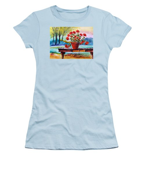 Women's T-Shirt (Junior Cut) featuring the painting From The Potting Shed by John Williams