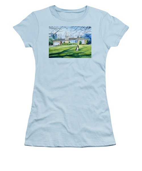Women's T-Shirt (Athletic Fit) featuring the painting Front Yard Protection by Hanne Lore Koehler