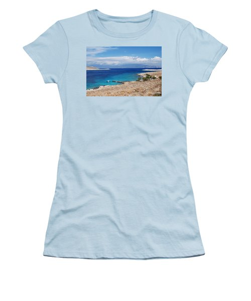 Ftenagia Beach On Halki Women's T-Shirt (Athletic Fit)