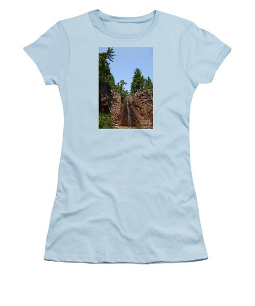 Women's T-Shirt (Junior Cut) featuring the photograph Gauthier Falls In Late August by Sandra Updyke