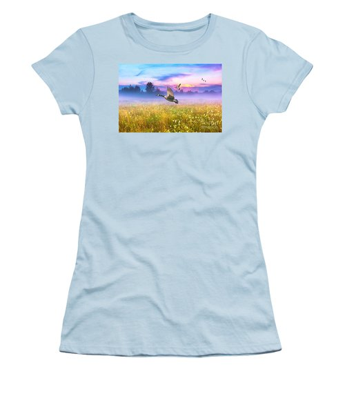 Geese In The Mist Women's T-Shirt (Athletic Fit)