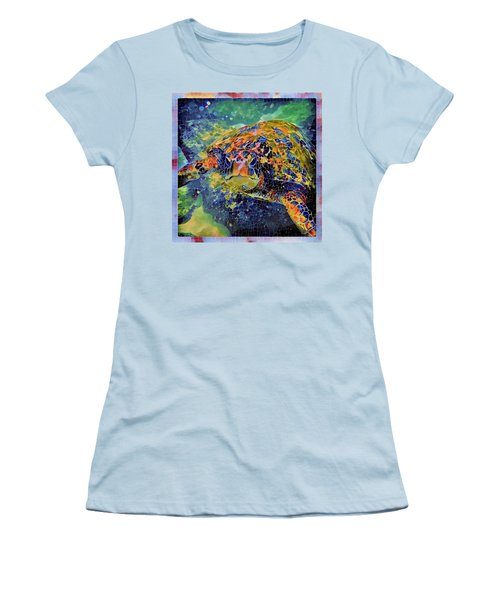 George The Turtle Women's T-Shirt (Junior Cut) by Erika Swartzkopf