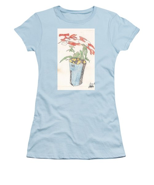 Women's T-Shirt (Athletic Fit) featuring the drawing Gesture Drawing Of Poinsettia by Rod Ismay
