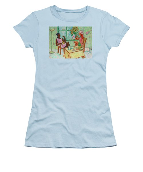 Women's T-Shirt (Athletic Fit) featuring the painting Girlfriends' Teatime V by Xueling Zou